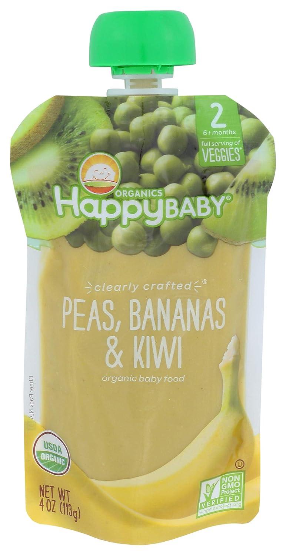HAPPY BABY Clearly Crafted Veggies Peas, Bananas, & Kiwi Baby Food, 4 OZ