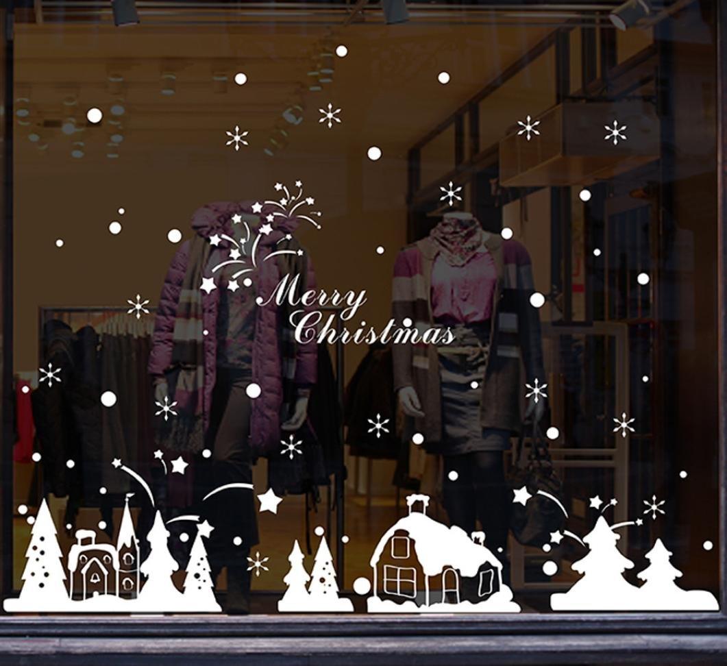 Salon Décoration Noël iglou vitrine verre Stickers muraux Kolylong