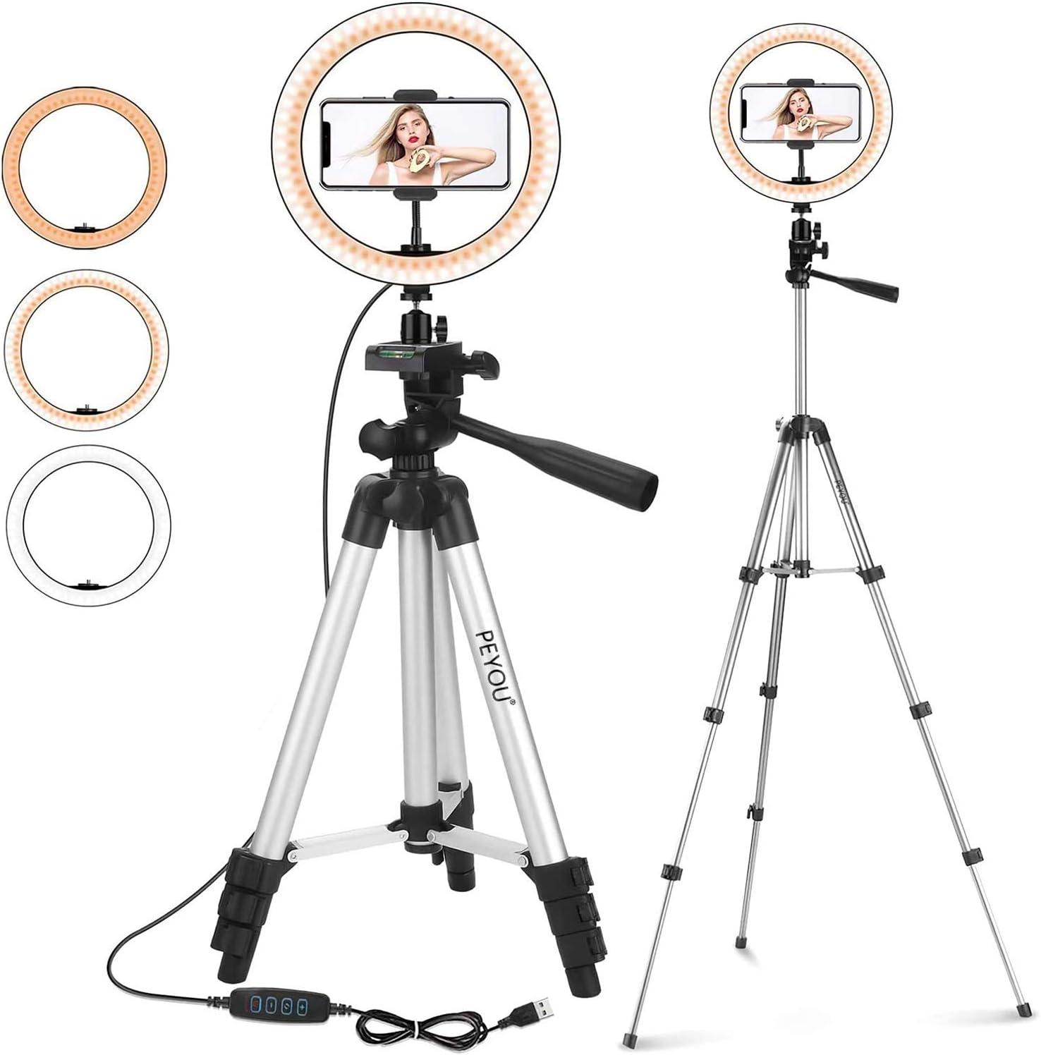 Live Stream Regulable Ring Light para Youtube Video RGB Aro de Luz con Tr/ípode y Soporte para Tel/éfono Celular Frontoppy 10.2 Anillo de Luz Selfie Led para iPhone y Android Makeup