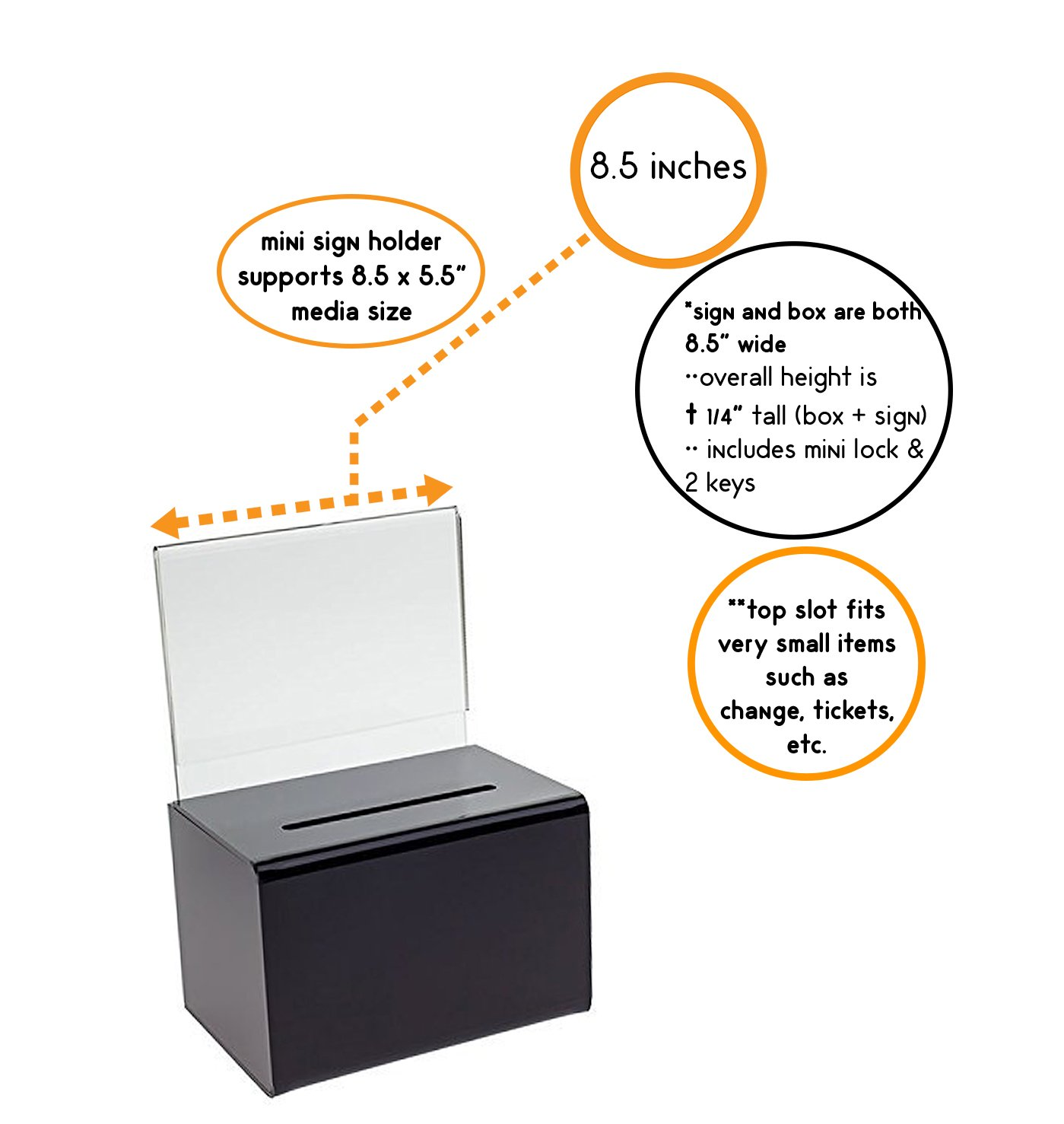 SourceOne Large Oblong Donation Box W/ 8 1/2 x 11 Sign Holder (Black)