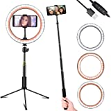 Ring Light 10'', Linkstyle LED Selfie Light with Tripod Stand & Cell Phone Holder, Dimmable 3 Light Modes & 10 Brightness Level, for Live Streaming YouTube Video Photography Makeup