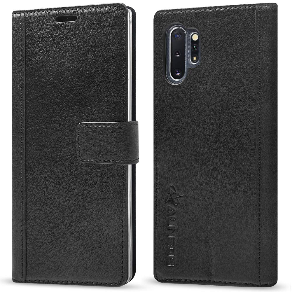 Galaxy Note 10+ Wallet Case [Genuine Leather] AUNEOS Leather Case for Samsung Galaxy Note 10 Plus (6.8'') [Card Pocket] Note 10 Pro Leather Folio Flip Case Cover(Note10Plus(6.8''), Black) by AUNEOS