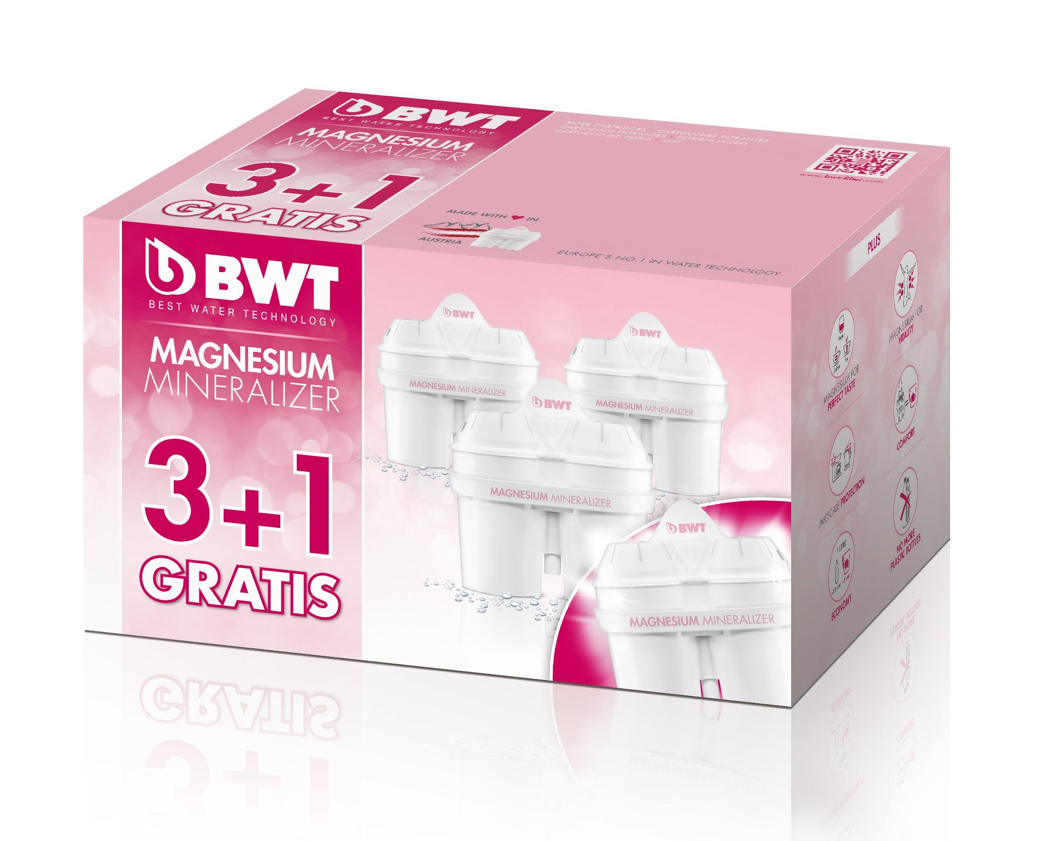 BWT Premium Mg 2+ Water Filter, Custom USA Formulation (3+1 Pack)