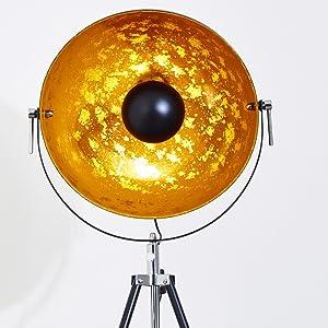 Lampadaire «Saturne»: Lampadaire vintage XXL   avec un abat-jour doré et noir   ampoule LED 40watts   éco-halogène   lampe à basse consommation rétro
