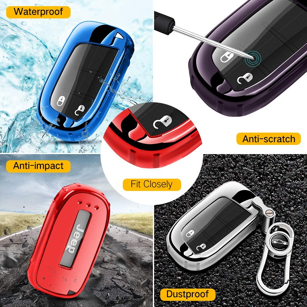 Blue Soft TPU Key Fob Case Full Protector Plating Shell for Jeep Grand Cherokee Renegade Compass Wrangler Patriot Comander Chrysler 200//300 Dodge Durango Charger Journey Key Fob Cover for Jeep
