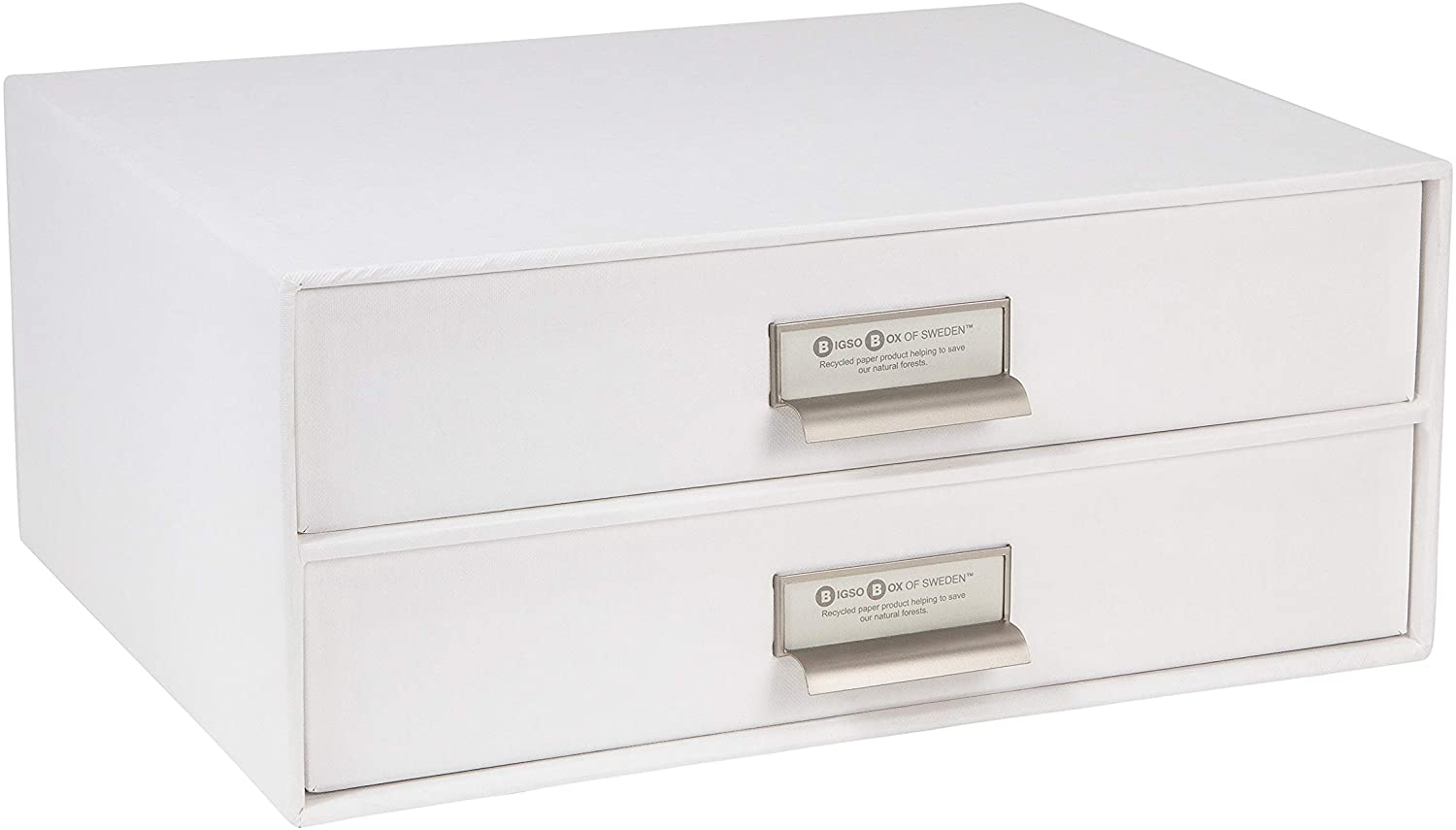 Bigso Birger 2-Drawer Fiberboard Label Frame Document Letter Box, 5.7 x 13 x 9.8 in, White