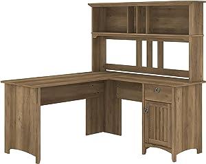 Bush Furniture Salinas L Shaped Desk with Hutch, 60W, Reclaimed Pine