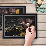 DBG 8Pcs/set Magic Colorful Drawing Board Paper Postcard Painting Scraping Toys Painting Doodle Scratch Gifts With 5 PCS Tools Set-Animals And Night Scenes Designed(A)