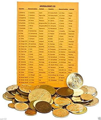 1993 Set of 55 Different Animal Coins With Country and Animal  List Circulated Coins Circulated