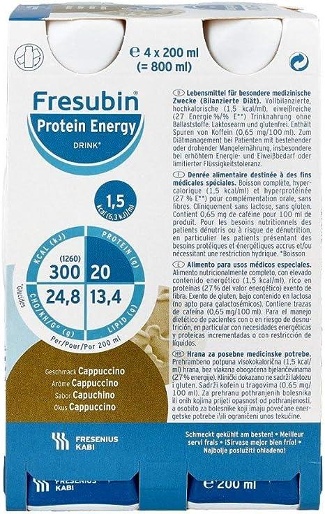 Fresenius Kabi - bebida energética Fresubin Protein Energy Drink sabor capuchino, 4 botellas de 200 ml, 1 paquete (1 x 1 kg)