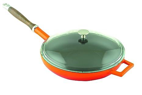 Lava Cookware Hierro Fundido Esmaltado sartén con mango de madera y tapa de cristal, redondo