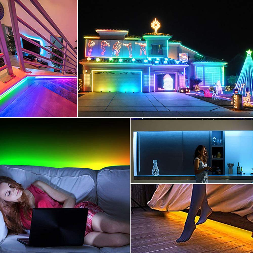 LED Strip Lights Built-in IC with App, 32.8ft/10m LED Chasing Light, 12V 5050 RGB Waterproof 300Leds Flexible-Lighting, Dream Color Changing Rope Lights Kit with Adhesive for Home Kitchen by Sanwo (Image #6)