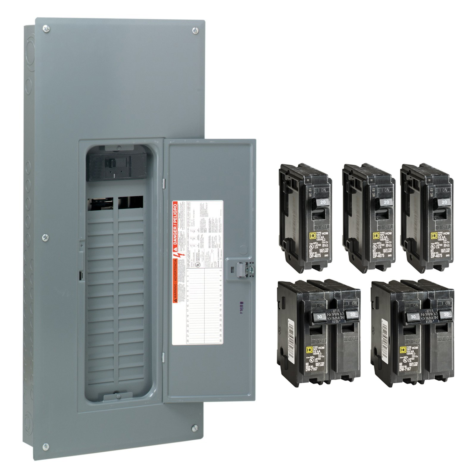 Square D by Schneider Electric HOM3060M150PCVP Homeline 150 Amp 30-Space 60-Circuit Indoor Main Breaker Load Center with Cover - Value Pack (Plug-on Neutral Ready), , by Square D by Schneider Electric