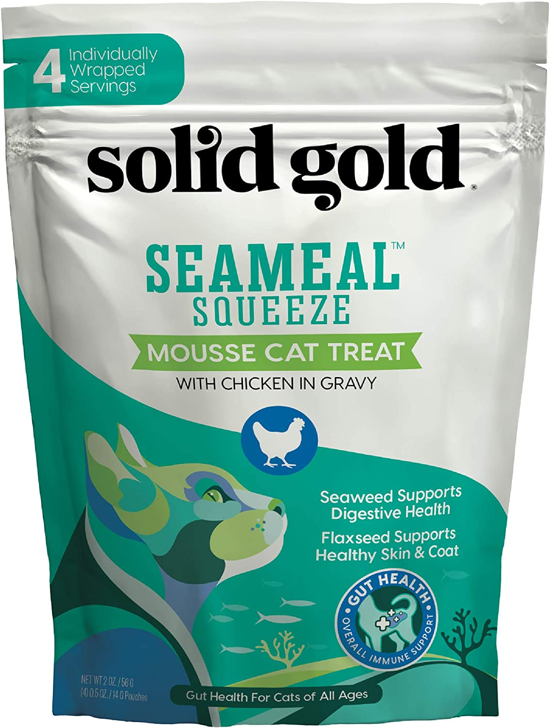 SeaMeal Squeeze Chicken Lickable Cat Treat with Seaweed for Skin, Coat, Digestive & Immune Health - Natural, Holistic, Grain-Free (48 Squeezes)