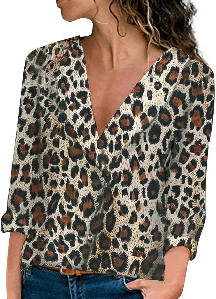 Zalanala Womens Long Sleeve V-neck Leopard Print Pullover Shirt Tops Blouses