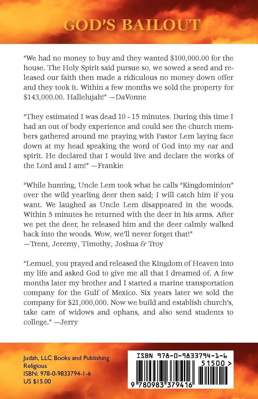 God's Bailout Principles of Kingdominion: Lemuel David Miller