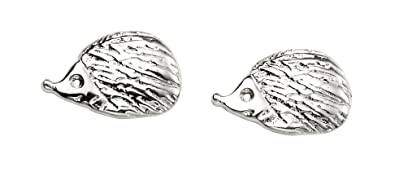 Sterling Silver Hedgehog Stud Earrings - British Made - Hallmarked 5TDDI