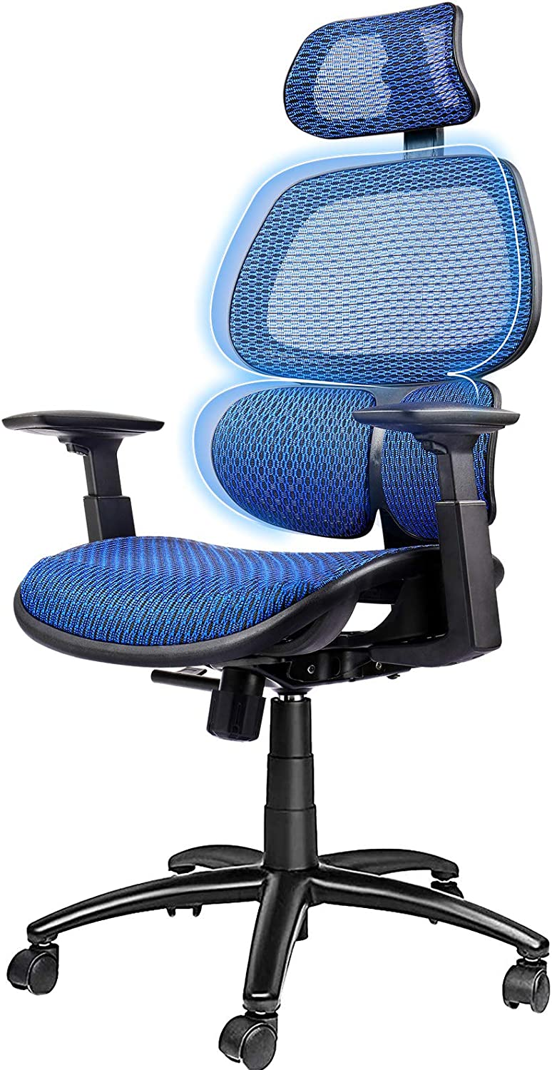 ComHoma Ergonomic Office Chair Breathable Mesh Desk Chair High Back Computer Chair with 3D Lumbar Support and Adjustable Headrest Flexible Armrests, 300 lbs Blue