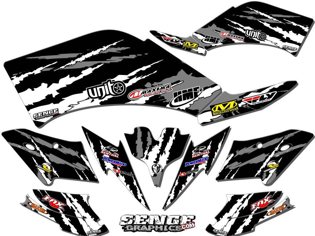 Senge Graphics 2008-2016 Kawasaki KFX 450R, Shredder Black Graphics Kit Senge Graphics Inc. COMINU032970