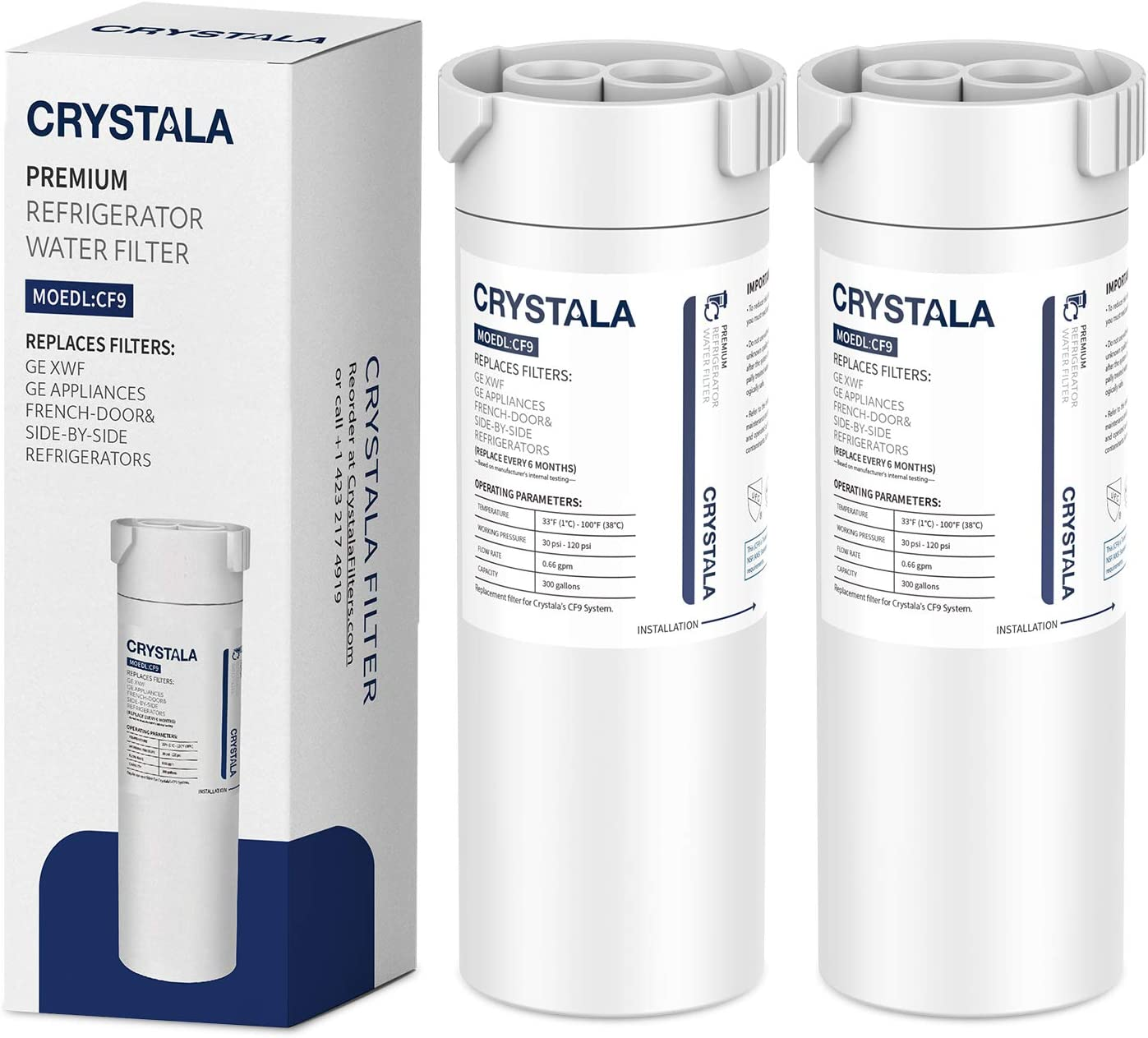 Crystala Filters Compatible with GE XWF Water Filter, Replacement for GE SmartWater Refrigerator Water Filter, (2 PACK)