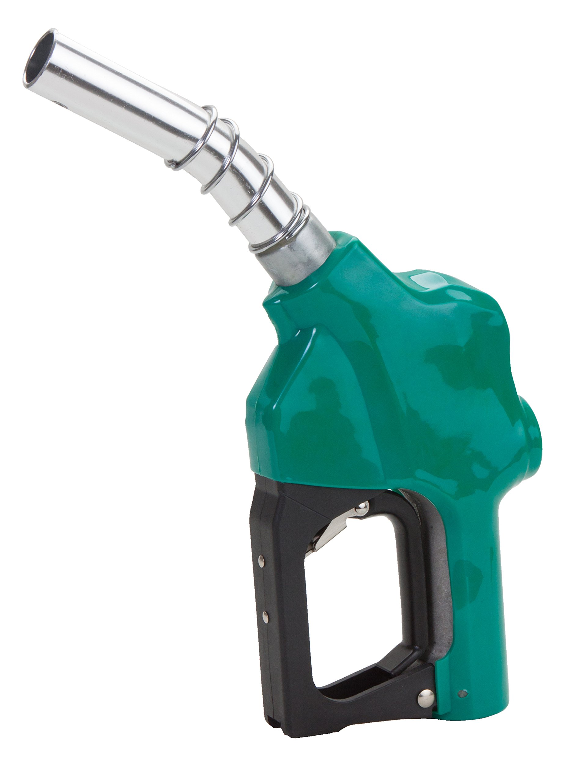 GROZ 1-inch NPT UL Listed Automatic Fuel Nozzle | 29 GPM | Curved Spout | Max Pressure 50 PSI | Green (45566)