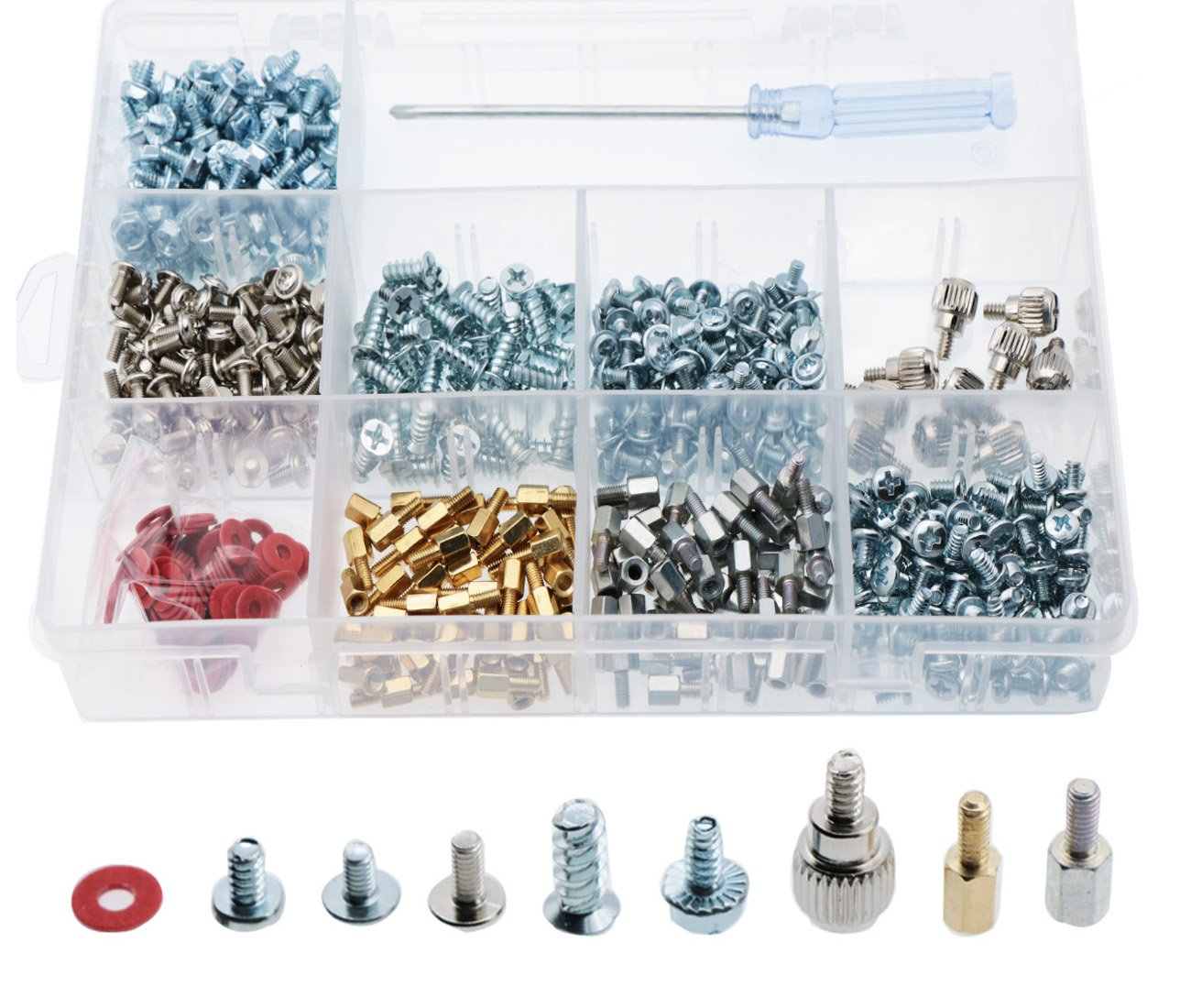 CO RODE 660pcs Phillips Head Computer PC Spacer Screws Assortment Kit for Case Hard Drive Motherboard Fan Power Graphics (Screwdriver Included)