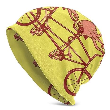CVDGSAD Gorros de Gorro Unisex Flamencos Rosados en Bicicleta ...