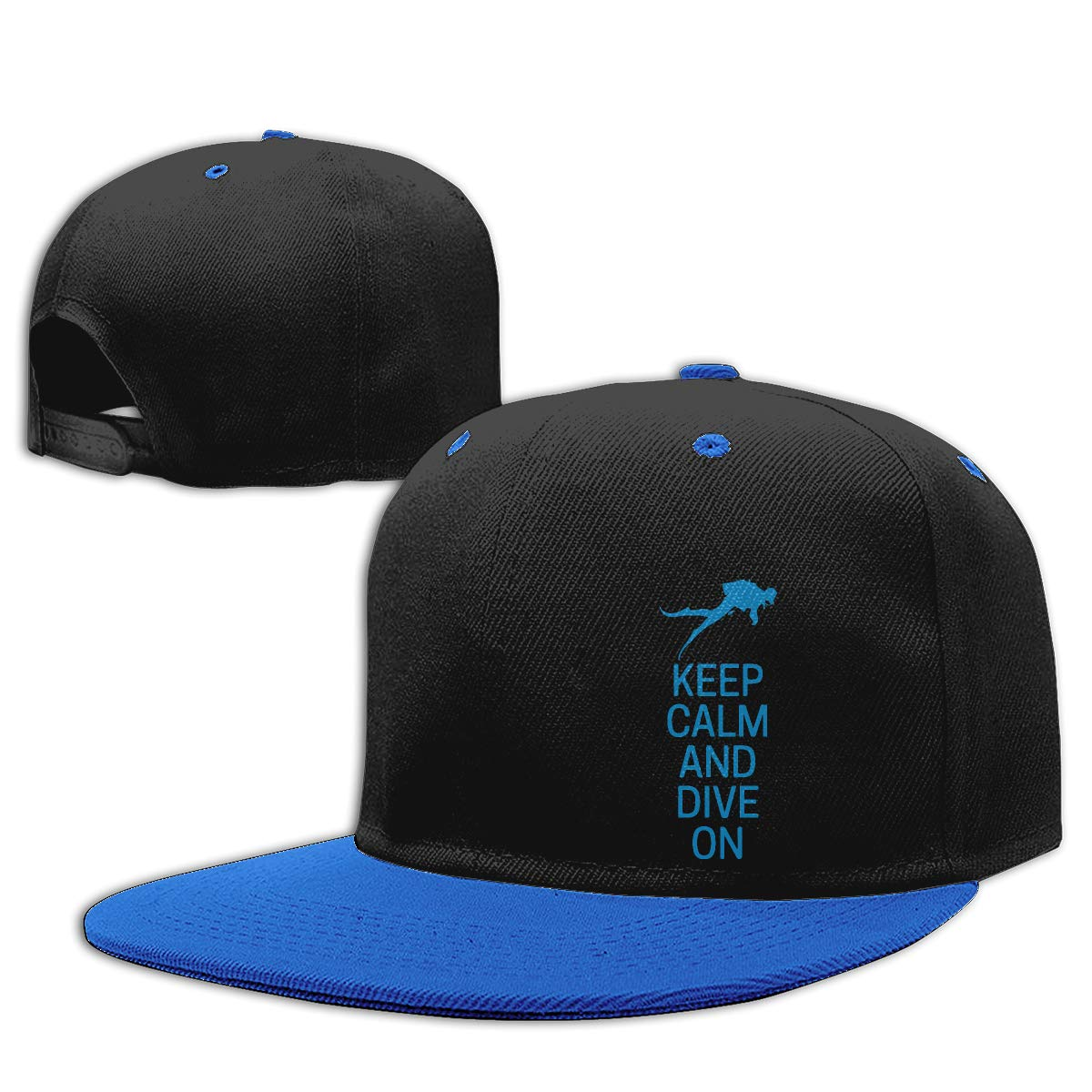 Men Womens Plain Cap Keep Calm and Dive On Adults Flat Peaked Baseball Caps