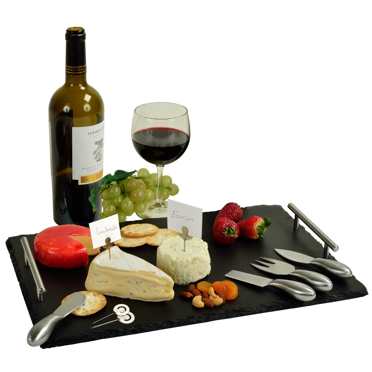 Picnic at Ascot Deluxe Handcrafted Slate Cheese Board/Charcuterie Platter with Stainless Steel Tools, Cheese Markers and Soapstone Chalk - A Great Holiday Gift for all Gourmets CB950