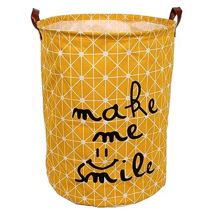 Waterproof Coating Cotton Fabric Folding Laundry Hamper Storage Basket