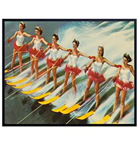 Vintage Water Ski Wall Art Print - 8X10 Unframed - Great Gift for Lake House Home Decor