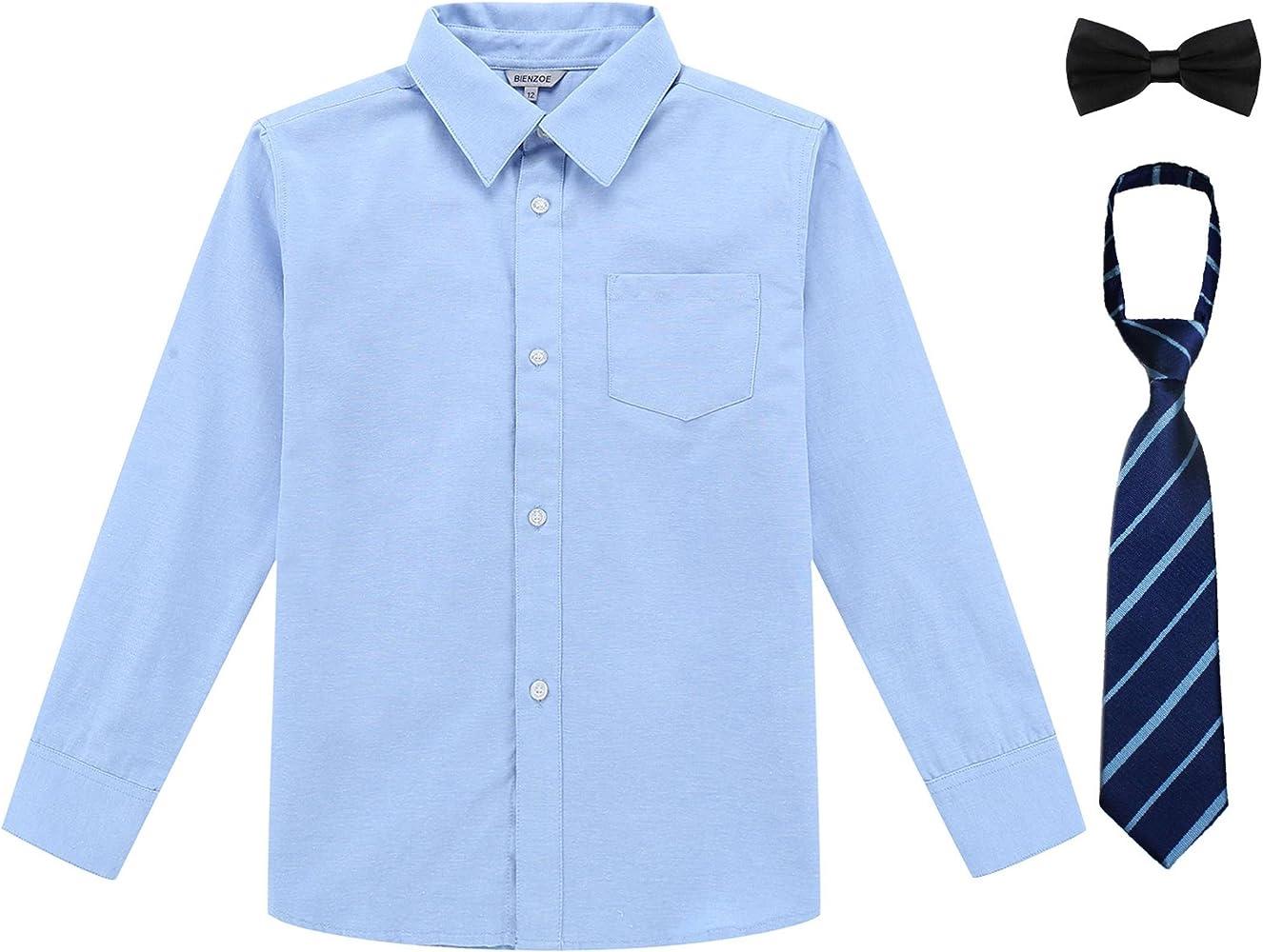 44ad51332c3c Bienzoe Boy's School Uniform Long Sleeve Button Down Oxford Shirt Pack Blue  4