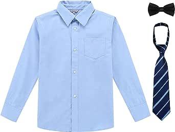 Bienzoe Niño Uniforme escolar Manga larga Oxford Camisa Paquete