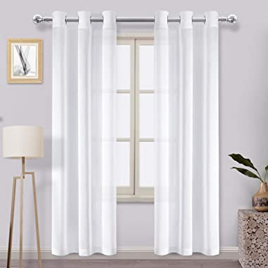 DWCN Faux Linen Sheer Curtains - Off White Semi Transparent Voile Window Curtains for Bedroom Living Room 38 x 84 inches Long, Set of 2 Grommet Curtain Panels