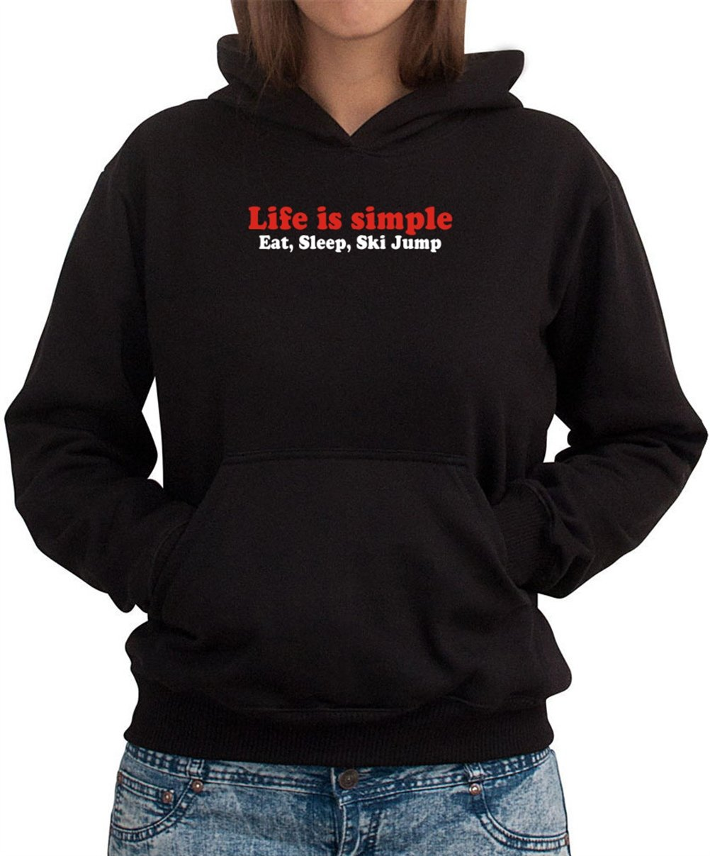 LIFE SIMPLE EAT , SLEEP Ski Jumping Women Dame Hoodie