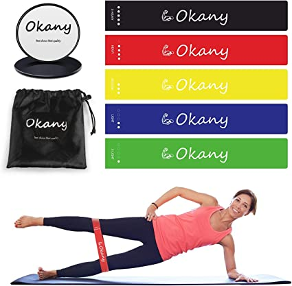 Exercise Sliding Gliding Discs and Resistance Bands Loop Workout Set
