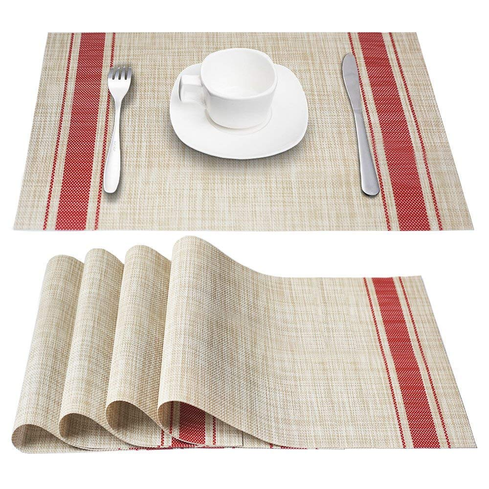 DACHUI Placemats, Heat-Resistant Placemats Stain Resistant Anti-Skid Washable PVC Table Mats Woven Vinyl Placemats, Set of 6 (Red