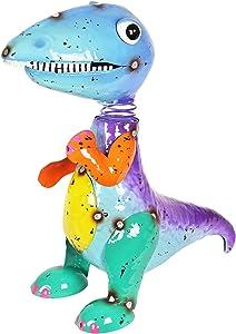 "Exhart Cute Dinosaur Figurine - Metal Dinosaur Bobblehead w/Bouncing Head – Hand-Painted Dinosaur Decoration - Weather Resistant Outdoor Dinosaur Statue for Home & Garden, 8.5"" L x 6.5"" W x 12"" H"