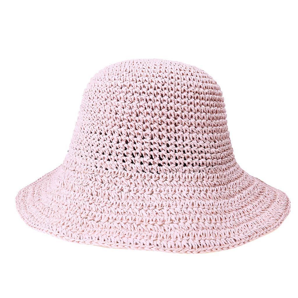 2019 New !Women's Soft Bow Handmade Foldable Rear Split Strap Hat Fisherman Farmer Spring Summer Outdoor Straw Hat (Pink)
