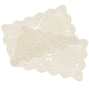 yazi Crochet Cotton Lace Placemats Doilies 2pc, Beige, 10inches by 16inches
