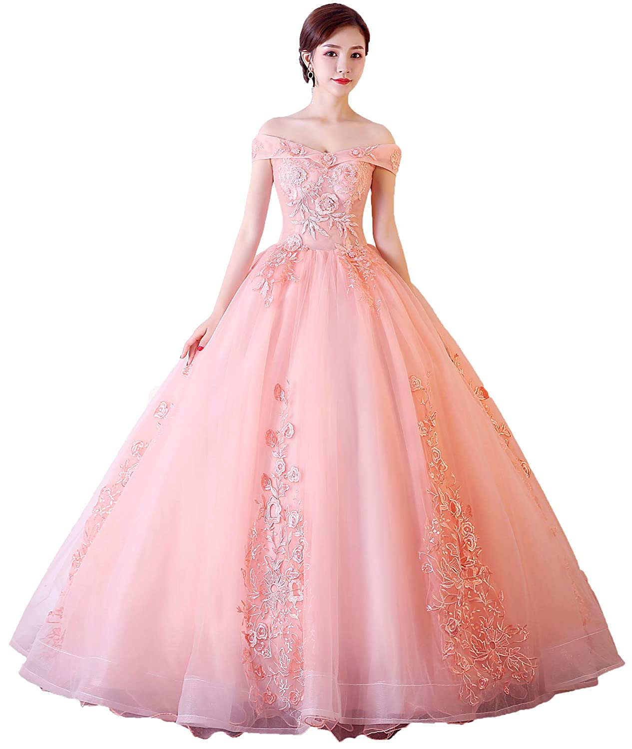 Peach Okaybrial Women's Sweet 16 Quinceanera Dresses bluesh Pink Off Shoulder Lace Long Prom Ball Gowns Plus Size