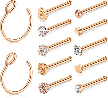 12pcs 20 Gauge Nose Rings Studs Stainless Steel Straight Bone Nose