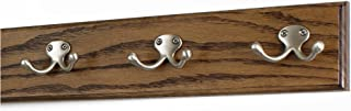 "product image for PegandRail Oak Coat Rack with Satin Nickel Double Style Hooks (Walnut, 15"" x 3.5"" with 3 Hooks)"