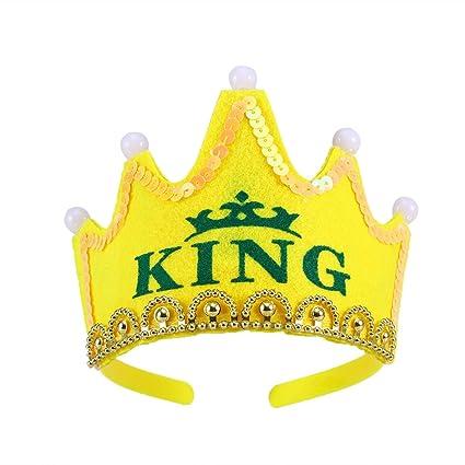LUOEM Sombreros de fiesta de cumpleaños con luz LED Gorras de fiesta con  corona de rey c5797b65e41