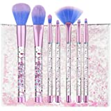 Coshine 7pcs Unicorn Series Shiny Crystal Liquid Quicksand Glitter Acrylic Handle Nylon Hair Makeup Tool Brush Set With Crystal Pouch