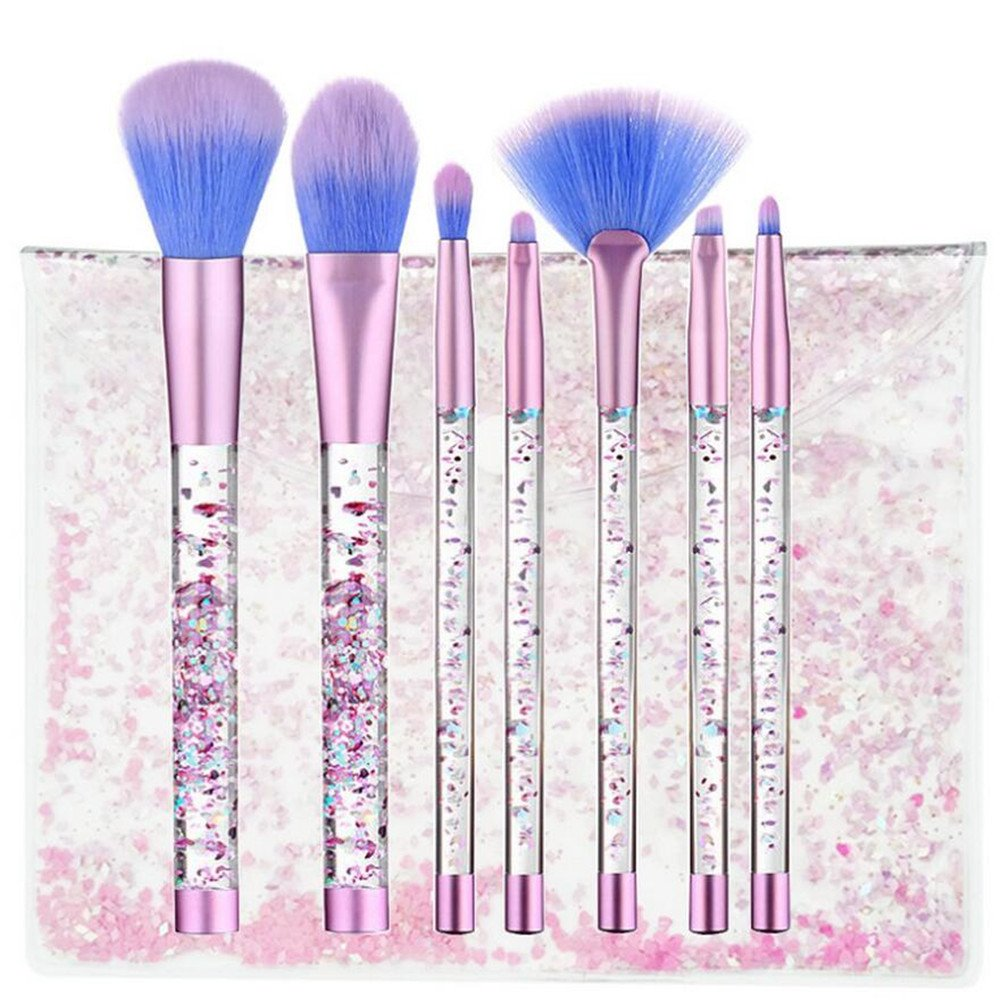 Coshine 7pcs Unicorn Series Shiny Crystal Liquid Quicksand Acrylic Handle Nylon Hair Makeup Tool Brush Set With Crystal Bag CS-2017038