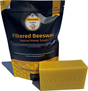 Sanctuary Traders Yellow Beeswax - 1lb Block (Pack of 5) Smells Like Honey - 100% Pure USA Bees Wax for Candle Making, Crafting, Wraps, Leather, Woodworking, Sewing, and Polish - Melts Smooth