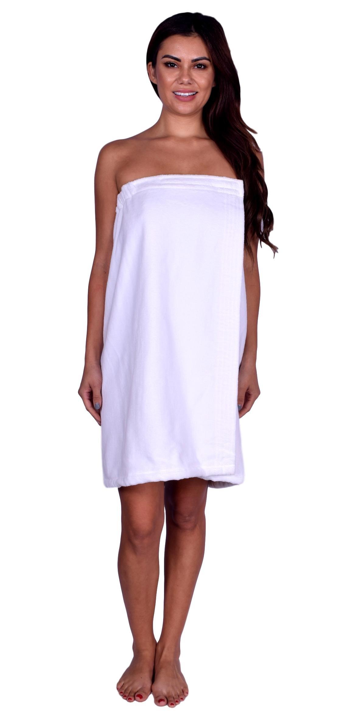 La Calla Women's Bath Wrap -%100 Terry Cotton - Turkish Spa Shower Women Wraps with Adjustable Closure (White)