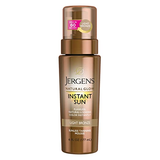 Jergens Natural Glow Instant Sun Sunless Tanning Mousse For Body, Light Bronze, 6 Ounces Best Sunless Tanners