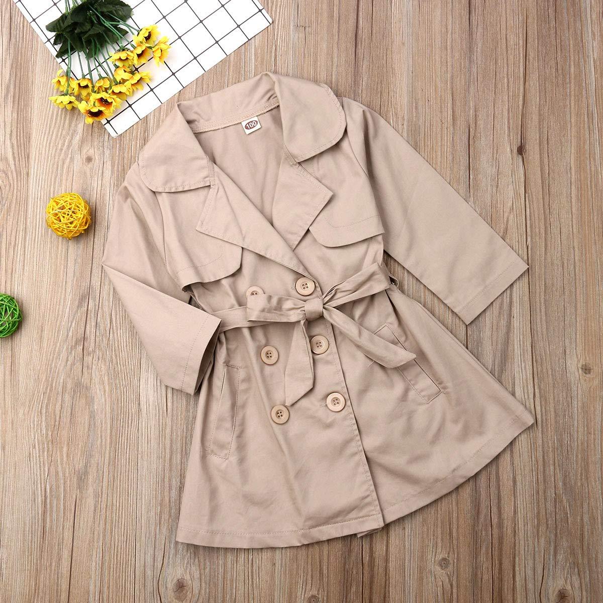 Dcohmch Toddler Baby Girl Trench Coat Girl Kids Spring Autumn Long Sleeve Wind Coat Windbreaker Jacket Casual Outerwear Coat